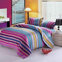 USA Luxury Multicolur Stripe Double Comforter Set, 4 PCS, Duvet Cover, Bed Sheet