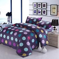 USA Luxury Multi Polka Dots Double  Comforter Set, 4 PCS, Duvet Cover, Bed Sheet