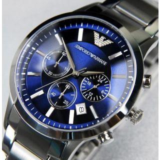 Emporio-Armani-AR-2448-Blue-Dial-Chronograph-Wrist Watch For Men