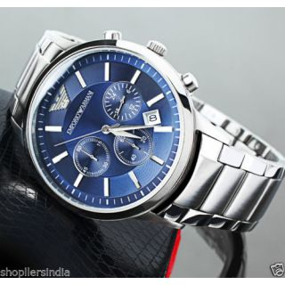Emporio Armani AR 2448 Blue Dial Chronograph Wrist Watch For Men