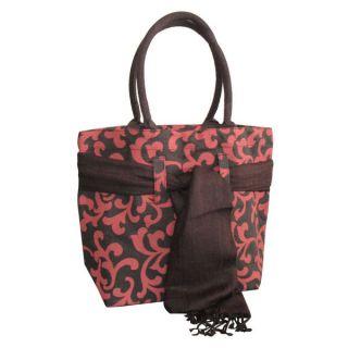 Earthbags Scroll Print Jute Bag With Matching Scarf (Orange)
