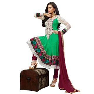 First Loot Beautiful Floral Embroidered Kalidar Suit