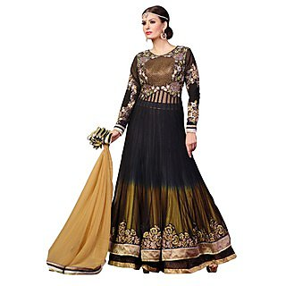 First Loot Exquisite Black Colored Embroidered Net Anarkali