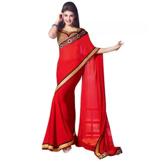 Ethnicbasket Georgette Embroidery Party Wear Saree.