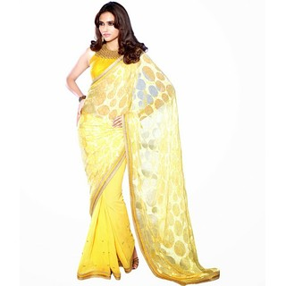 Ethnicbasket Brasso And Georgette Embroidery Festival Saree.