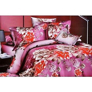 Valtellina Graceful pink & red flower design Double Bed Sheet(JF-003)