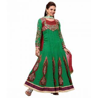 Ethnicbasket Georgette Party Wear Green Salwar Suit.