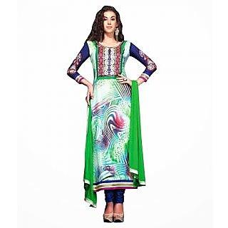 Ethnicbasket Digital Printed Green Salwar Kameez.