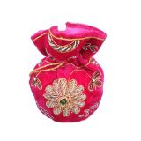 Decorated Velvet Pink Potli