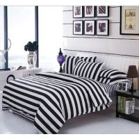 USA Luxury White & Black Double  Comforter Set, 4 PCS, Duvet Cover, Bed Sheet