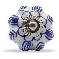 Casa Decor Ceramic Painted Knob Blue/White (Set Of 4) - 72581668