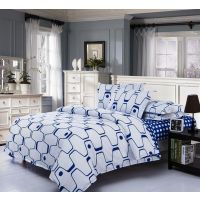 USA Luxury Blue Striped Comforter Set, 4 PCS, Duvet Cover, Bed Sheet