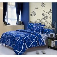USA Luxury Vibrant Blue Double  Comforter Set, 4 PCS, Duvet Cover, Bed Sheet