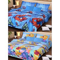 Combo Of 2 Cartoon Print Double Bedsheet And 4 Pillow Cover