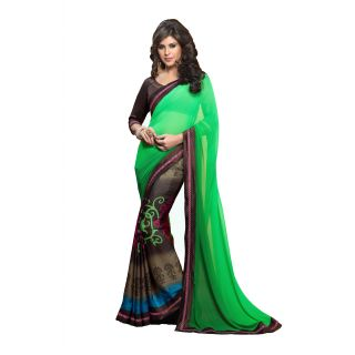 Pagli Green with Brown half-half printed georgette with crepe saree.