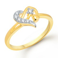 VK Jewels Sterling Heart Gold and Rhodium Plated Ring - FR1144G