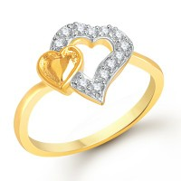 VK Jewels Dual Heart Gold and Rhodium Plated Ring - FR1145G