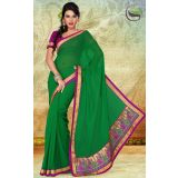 Party Wear Green Faux Georgette Saree with Blouse