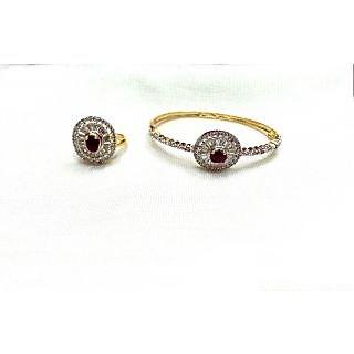 Bijou American Diamond Bracelet & Ring Combo Red