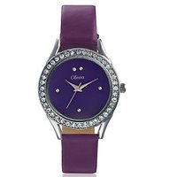 Oleva Ladies Leather Watch with Genuine Leather Strap OLW-15 PURPLE