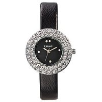 Oleva Round Dial Black Leather Strap Womens Quartz Watch