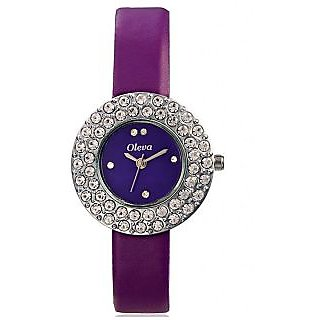 Oleva Round Dial Purple Leather Strap Women Quartz Watch