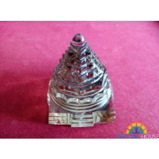 Crystal Shree Yantra (Genuine Smoky Quartz Crystal)