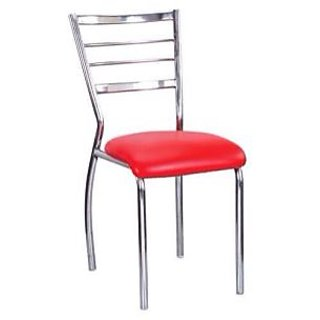 Dining Chair in Steel with Red Colour Leatherette Seat