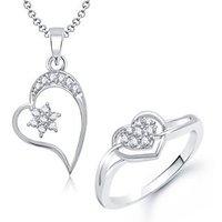 VK Jewels Star Heart Shape Combo Ring & Pendant- VKCOMBO1028R