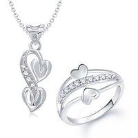 VK Jewels Dual Heart Shape Combo Ring & Pendant- VKCOMBO1029R