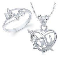VK Jewels I Love U Heart Shape Combo Ring  Pendant- VKCOMBO1058R