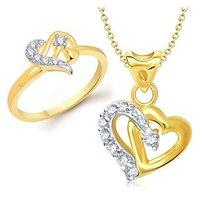 VK Jewels One Love Heart Shape Combo Ring & Pendant- VKCOMBO1072G
