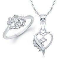 VK Jewels Leafy Heart Shape Combo Ring & Pendant- VKCOMBO1089R