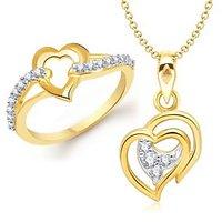 VK Jewels Admirable Heart Shape Combo Ring & Pendant- VKCOMBO1100G