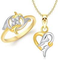 VK Jewels Love Musings Heart Shape Combo Ring & Pendant- VKCOMBO1105G