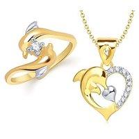 VK Jewels Dolphin Combo Ring & Pendant- VKCOMBO1116G