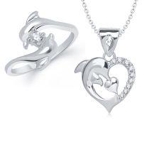 VK Jewels Dolphin Combo Ring & Pendant- VKCOMBO1121R
