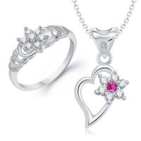 VK Jewels Beautiful Flower Combo Ring & Pendant- VKCOMBO1125R