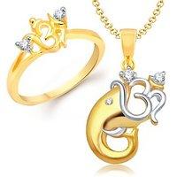 VK Jewels Divine Om Combo Ring & Pendant- VKCOMBO1127G