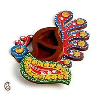 Buy Peacock Shaped Decorative Haldi Kumkum Box Online