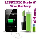 Gadget Hero's Lipstick Design 2600 MaH Portable Power Bank External Battery Charger Green For Samsung, Apple IPhone, Blackberry, Sony, Samsung, HTC, Nokia, Micromax, LG, Karbonn, Intex, Lava, Philips & Other USB Powered Phone's Or Devices