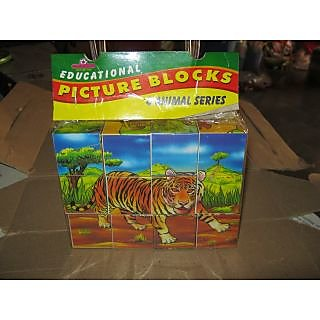UNIQUE- EDUCATIONAL PICTURE BLOCKS- ANIMAL SERIES- 6 PICTURE OF ANIMALS-12 BLOCK