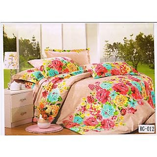 Valtellina Gorgeous Red Sun flower With Green Print Double Bed Sheet(RG-012)