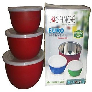Euro Red Stainless Steel Heat  Serve Bowl And Free Vegetable Slicer