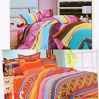 Valtellina set of 2 double bedsheet with 4 pillow cover(COMBO-44_RG-004-006)