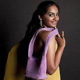 Ajar Crochet Shoulder Handbag Lavender