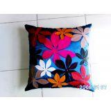 Felt Flower Patch Cushion Cover Blue 5 Pcs Set