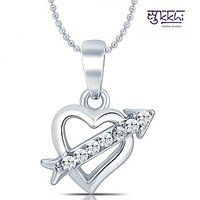 Sukkhi Pretty Rhodium Plated Valentine Heart Pendant with Chain