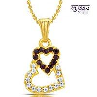 Sukkhi Moddish Gold and Rhodium Plated Valentine Heart Pendant with Chain
