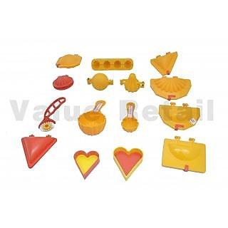 Mould Combo Modak, Kachori, Samosa, Cutlet, Karanji, Ladoo, Prasad Scoop, Cutter (15 Pcs)